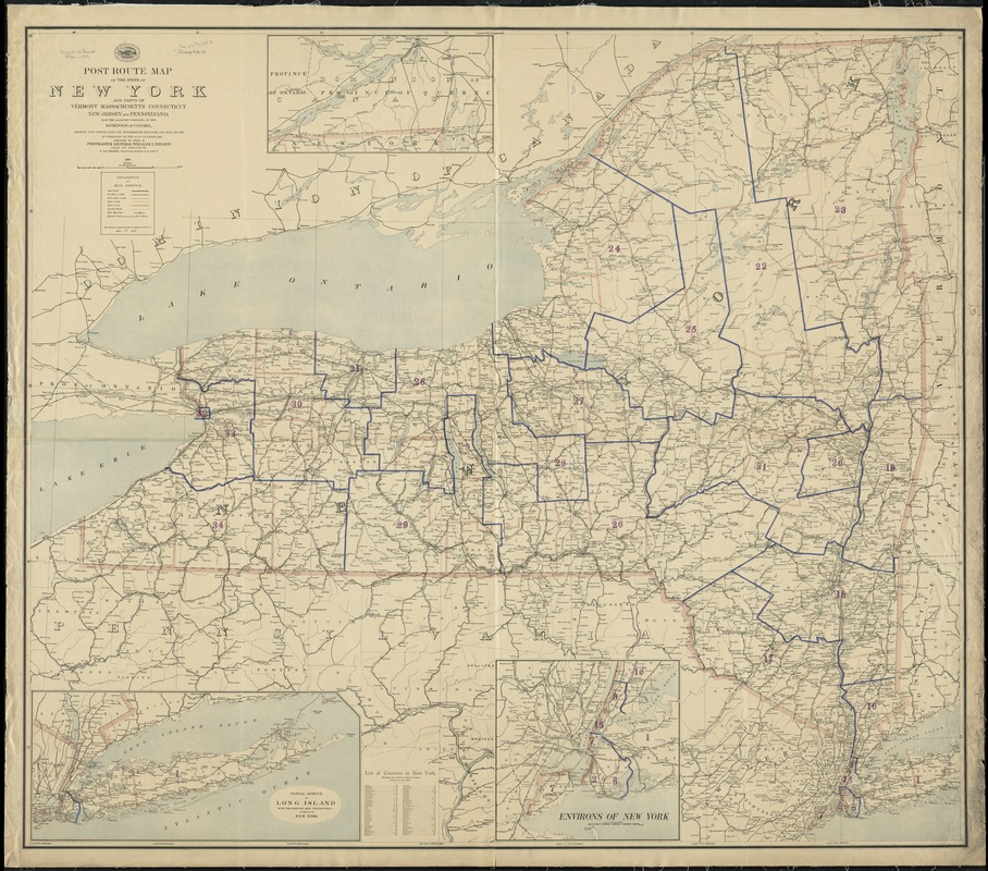 Map Of New York State And Canada.Post Route Map Of The State Of New York And Parts Of Vermont
