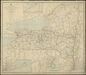 Post route map of the State of New York and parts of Vermont, Massachusetts, Connecticut, New Jersey, and Pennsylvania also the adjacent portions of the Dominion of Canada, showing post offices with the intermediate distances and mail routes in operation on the 1st of December 1895