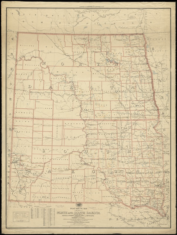 Post route map of the states of North and South Dakota with adjacent parts of Montana, Wyoming, Nebraska, Iowa and Minnesota and portions of the Dominion of Canada