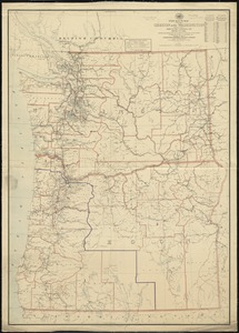 Post route map of the states of Oregon and Washington with adjacent states of Idaho, Nevada, California and British Columbia