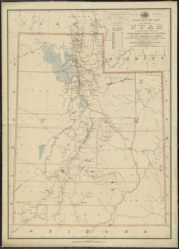 Post route map of the territory of Utah with adjacent parts of the states of Nevada, Idaho, Wyoming and Colorado and the territory of Arizona
