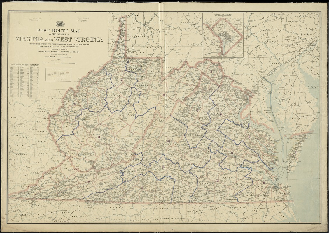 Map Of Virginia And West Virginia Together.Post Route Map Of The States Of Virginia And West Virginia Showing