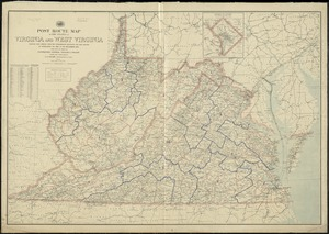 Post route map of the states of Virginia and West Virginia showing post offices with the intermediate distances and mail routes in operation on the 1st of December, 1895
