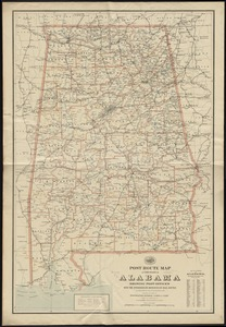 Post route map of the State of Alabama showing post offices with the intermediate distances on mail routes in operation on the 1st. of December, 1897