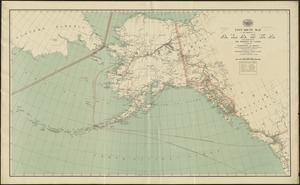 Post route map of the territory of Alaska with adjacent parts of the Dominion of Canada and portions of Washington and Oregon showing post offices with the intermediate distances and mail routes in operation on the 1st of December 1897