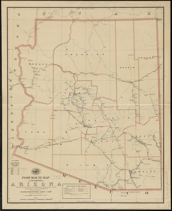 Post route map of the territory of Arizona showing post offices with the intermediate distances on mail routes in operation on the 1st. of December, 1897