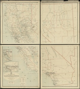 Post route map of the states of California and Nevada showing post offices with the intermediate distances on mail routes in operation on the 1st of December, 1897