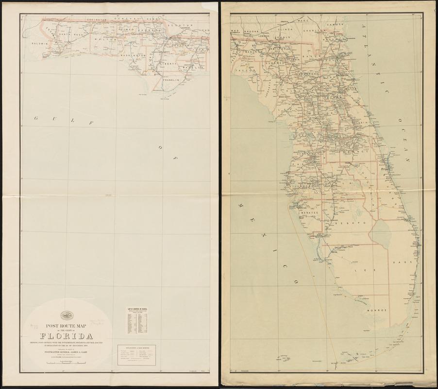 Post route map of the state of Florida showing post offices ...