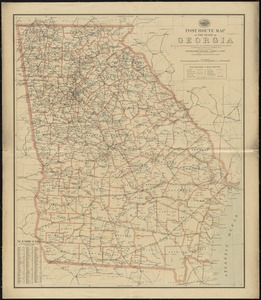 Post route map of the state of Georgia showing post offices with the intermediate distances on mail routes in operation on the 1st of December, 1897