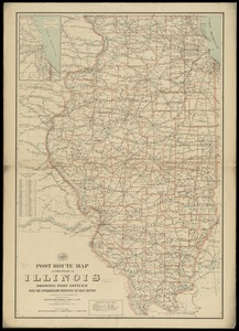 Post route map of the state of Illinois showing post offices with the intermediate distances on mail routes in operation on the 1st of December, 1897