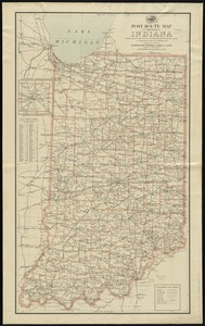 Post route map of the state of Indiana showing post offices with the intermediate distances on mail routes in operation on the 1st of December, 1897