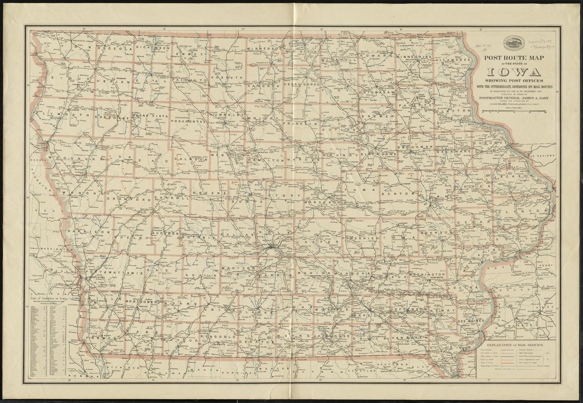 Post route map of the state of Iowa showing post offices with the intermediate distances on mail routes in operation on the 1st of December, 1897