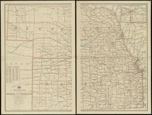 Post route map of the states of Kansas and Nebraska showing post offices with the intermediate distances on mail routes in operation on the 1st. of December, 1897