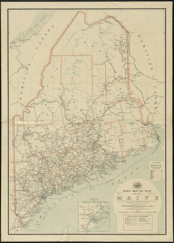 Post route map of the state of Maine showing post offices with the intermediate distances on mail routes in operation on the 1st. of December 1897