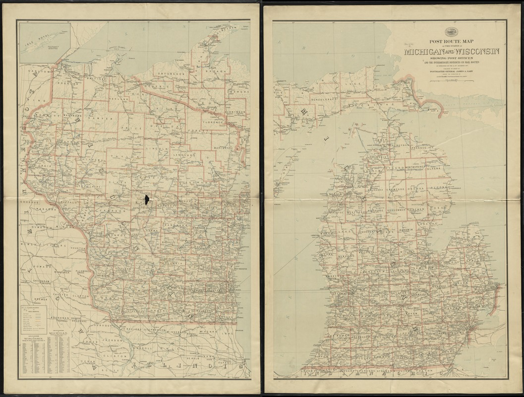 Post route map of the states of Michigan and Wisconsin showing post offices and the intermediate distances on mail routes in operation on the 1st. of December 1897