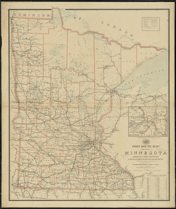 Post route map of the state of Minnesota showing post offices with the intermediate distances and mail routes in operation on the 1st. of December, 1897