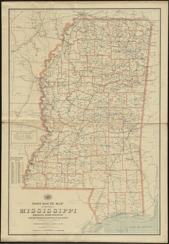 Post route map of the state of Mississippi showing post offices with the intermediate distances on mail routes in operation on the 1st. of December, 1897