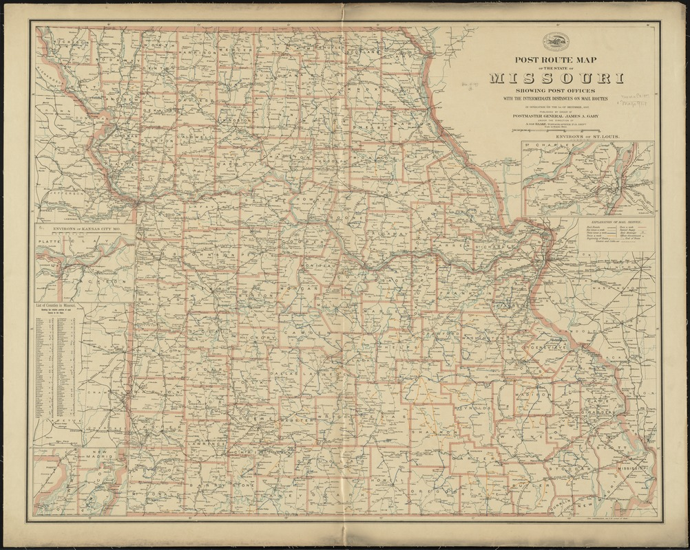 Post route map of the state of Missouri showing post offices with the intermediate distances on mail routes in operation on the 1st. of December, 1897