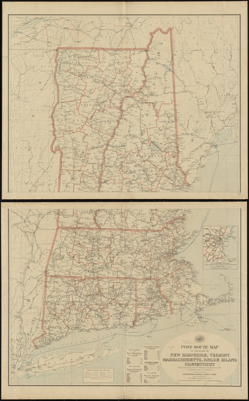 Post route map of the states of New Hampshire, Vermont, Massachusetts, Rhode Island, Connecticut showing post offices with the intermediate distances on mail routes in operation on the 1st. of December, 1897