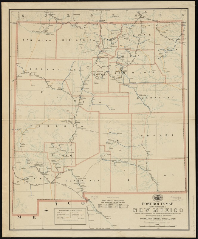 Post route map of the territory of New Mexico showing post offices with the intermediate distances on mail routes in operation on the 1st. of December, 1897