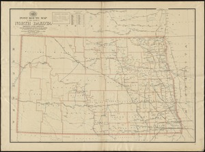 Post route map of the state of North Dakota showing post offices with the intermediate distances on mail routes in operation on the 1st of December, 1897