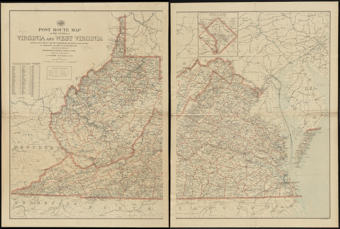 Post route map of the states of Virginia and West Virginia showing post offices with the intermediate distances on mail routes in operation on the 1st of December, 1897