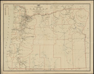 Post route map of the state of Oregon showing post offices with the intermediate distances on mail routes in operation on the 1st. of December, 1897