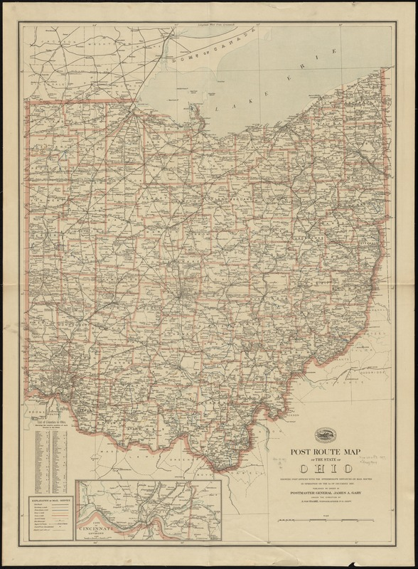 Post route map of the state of Ohio showing post offices with the intermediate distances on mail routes in operation on the 1st. of December, 1897