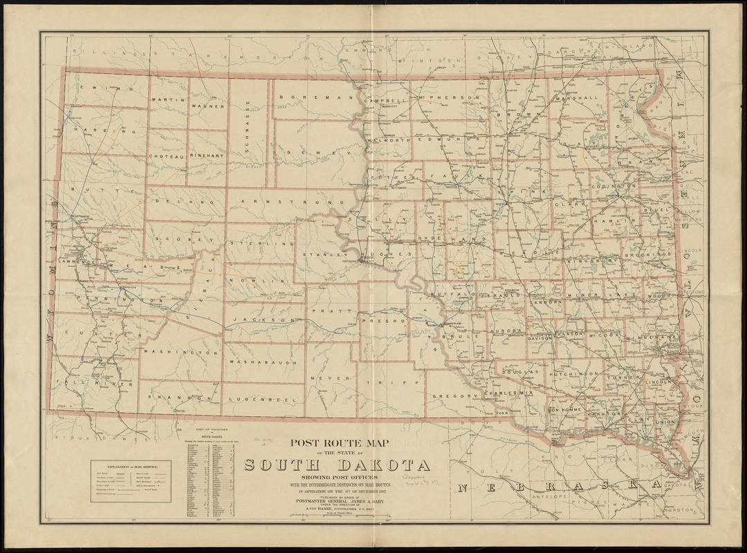 Post route map of the state of South Dakota showing post offices with the intermediate distances on mail routes in operation on the 1st of December, 1897