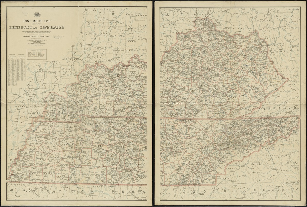 Post route map of the states of Kentucky and Tennessee showing post offices and intermediate distances on mail routes in operation September 1st. 1897
