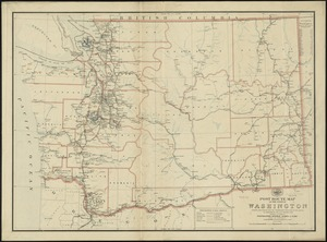 Post route map of the state of Washington showing post offices with the intermediate distances on mail routes in operation on the 1st. of September, 1897