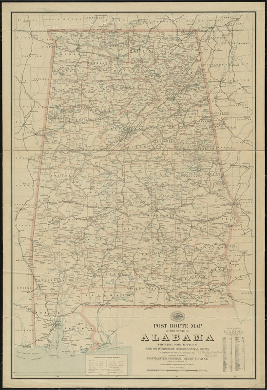 Post route map of the state of Alabama showing post offices with the intermediate distances on mail routes in operation on the 1st of December, 1903