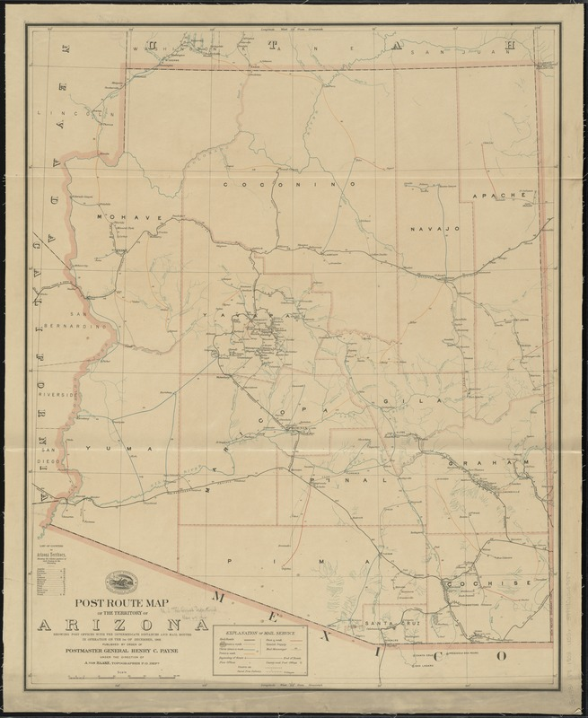 Post route map of the territory of Arizona showing post offices with the intermediate distances and mail routes in operation on the 1st of December, 1903