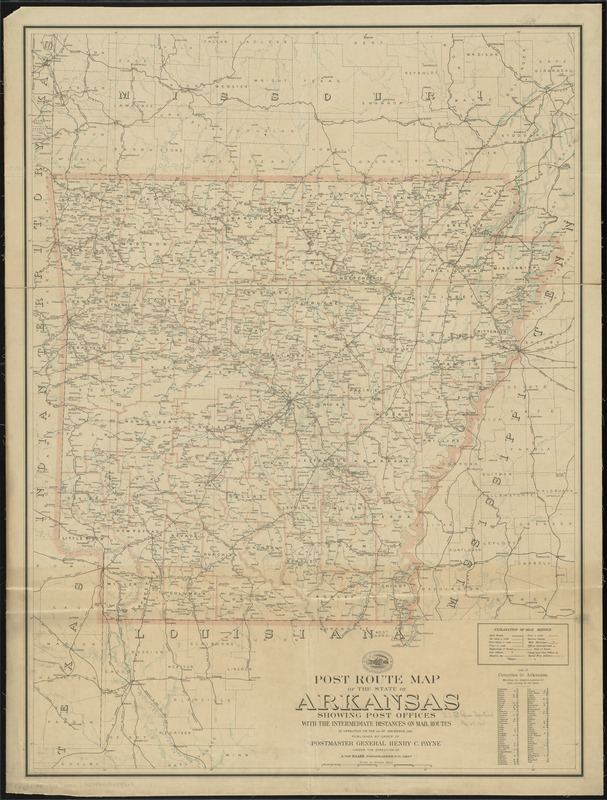 Post route map of the state of Arkansas showing post offices with the intermediate distances on mail routes in operation on the 1st of December, 1903