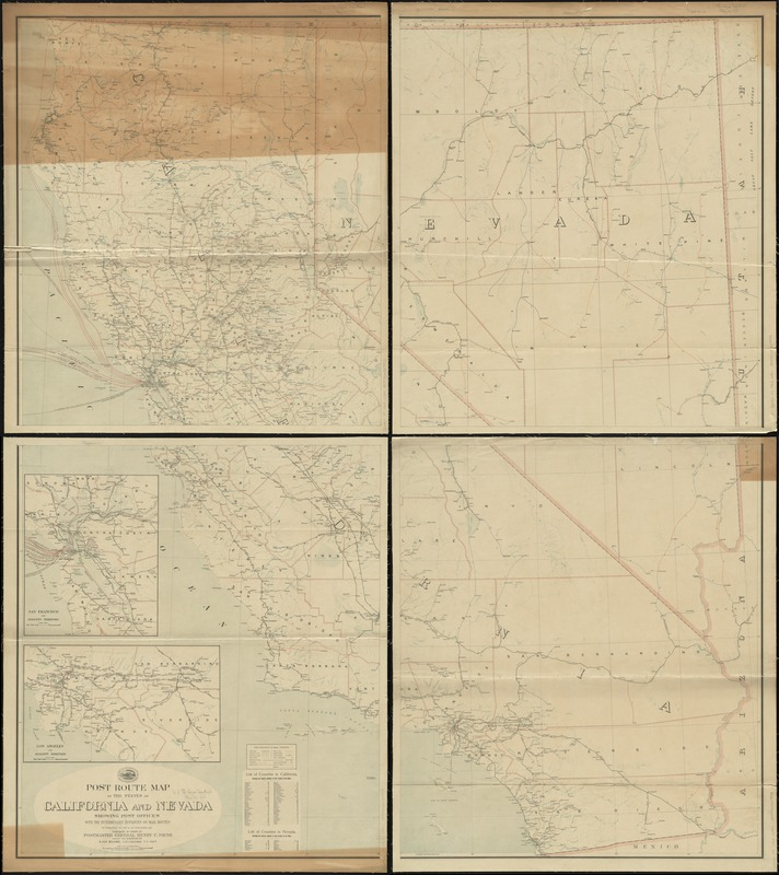 Post route map of the states of California and Nevada showing post offices with the intermediate distances on mail routes in operation on the 1st of December, 1903