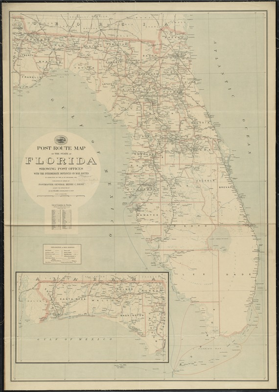 Post route map of the state of Florida showing post offices with the intermediate distances on mail routes in operation on the 1st of December, 1903