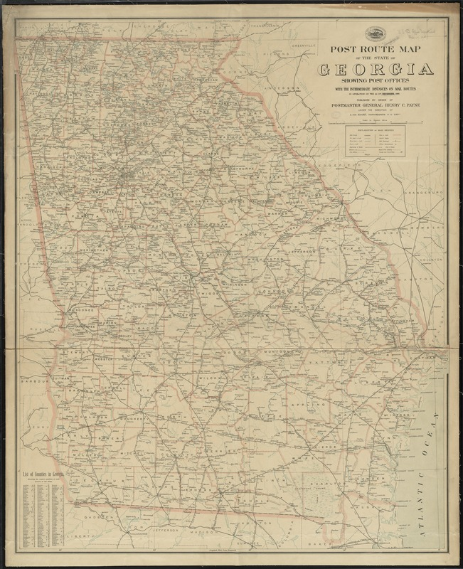 Post route map of the state of Georgia showing post offices with the intermediate distances on mail routes in operation on the 1st of December, 1903