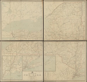 Post route map of the state of New York showing post offices with the intermediate distances on mail routes in operation on the 1st of December, 1903