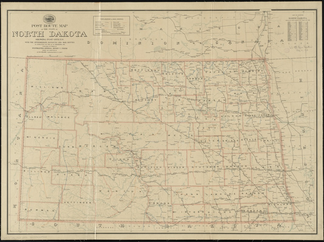 Post route map of the state of North Dakota showing post offices with the intermediate distances and mail routes in operation on the 1st of December, 1903