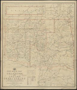 Post route map of Oklahoma and Indian territories showing post offices with the intermediate distances on mail routes in operation on the 1st of December, 1903