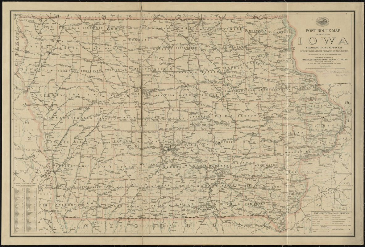 Post route map of the state of Iowa showing post offices with the intermediate distances on mail routes in operation on the 1st of December, 1903
