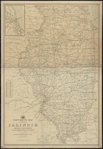 Post route map of the state of Illinois showing post offices with the intermediate distances on mail routes in operation on the 1st of December, 1903