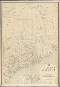 Post route map of the state of Maine showing post offices with the intermediate distances on mail routes in operation on the 1st of December, 1903