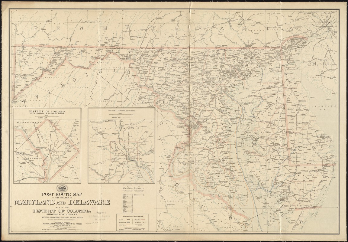 Post route map of the states of Maryland and Delaware and of the District of Columbia showing post offices with the intermediate distances on mail routes in operation on the 1st of December, 1903