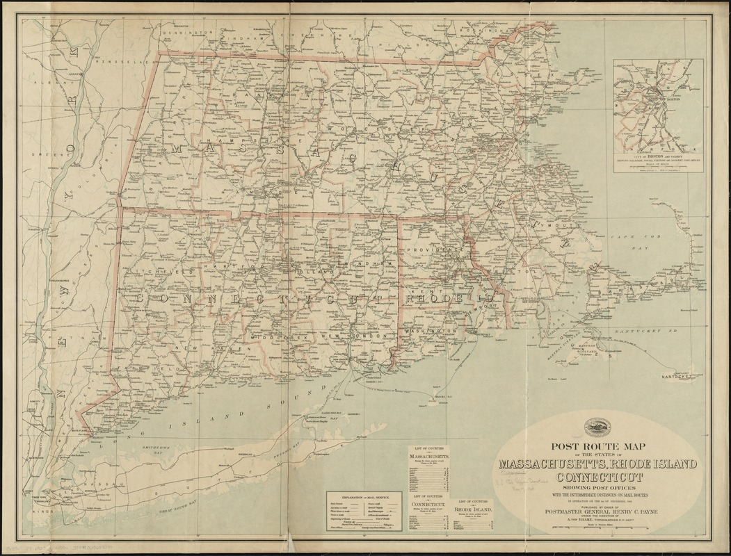 Post route map of the states of Massachusetts, Rhode Island, Connecticut showing post offices with the intermediate distances on mail routes in operation on the 1st of December, 1903