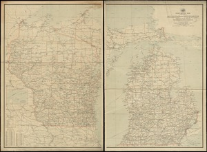 Post route map of the states of Michigan and Wisconsin showing post offices with the intermediate distances on mail routes in operation on the 1st of December, 1903