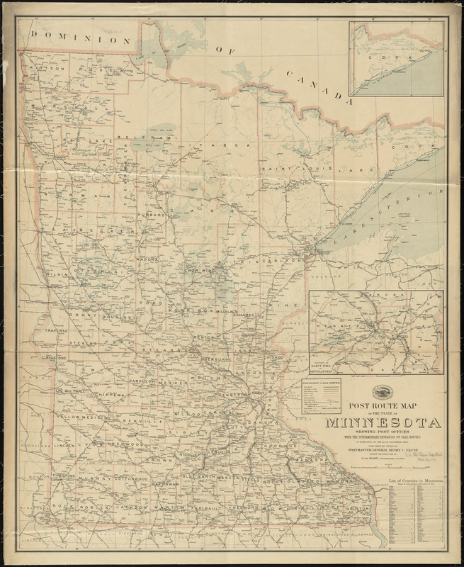 Post route map of the state of Minnesota showing post offices with the intermediate distances and mail routes in operation on the 1st of December, 1903