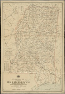 Post route map of the state of Mississippi showing post offices with the intermediate distances on mail routes in operation on the 1st of December, 1903