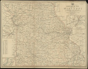Post route map of the state of Missouri showing post offices with the intermediate distances on mail routes in operation on the 1st of December, 1903