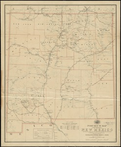 Post route map of the territory of New Mexico showing post offices with the intermediate distances and mail routes in operation on the 1st of December, 1903